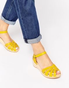 Swedish Hasbeens Cross Strap Debutant Yellow Mid Heel Sandals
