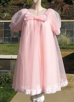 Vintage 60s Double Chiffon Nightgown Robe Short Babydoll Peignoir Set