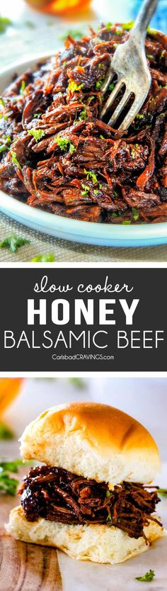 I am obsessed with this sweet and tangy, savory Slow Cooker Honey Balsamic Beef!!! It's fall apart tender, crazy juicy, packed with flavor and smothered in the most AMAZING honey balsamic sauce! perfect for sandwiches or stand alone delicious with rice and potatoes! via @carlsbadcraving