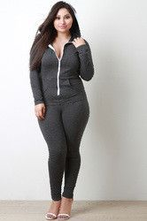Plus Size Contrast Zip Up Hoodie Jumpsuit
