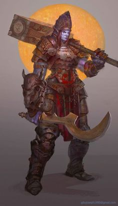 Female Goliath Cleric (Tempest, War) Fighter, Paladin