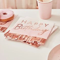 Ginger Ray Rose Gold Ombre Fringe Napkins – Build a Birthday NZ Décoration Rose Gold, Rose Gold Paper, Pink Paper, Gold Birthday, Happy Birthday, Birthday Parties, Birthday Lunch, Birthday Celebrations, Birthday Table