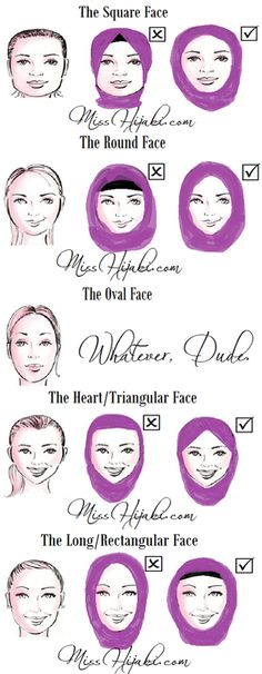 Many Muslim women dont know how to style their hijabs to suit their face shapes. Does the hijab style u are wearing now suits your face frame? Credits from misshijabi.com