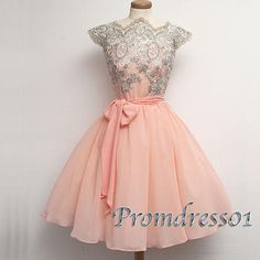 Vintage prom dresses short, cap sleeve ball gown, 2016 custom made pink chiffon party dress for teens www.promdress01.c... #promdress #coniefox #2016prom