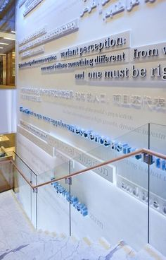 Wayfinding lettering -- as a former journalist, I love this! (Even though I never actually set type. Environmental Graphic Design, Environmental Graphics, Office Graphics, Office Wall Design, Donor Wall, Wayfinding Signs, Signage Design, Display Design, Wall Treatments