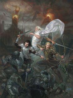 Sauron's Fall, Aragorn Gandalf and Legolas💥 Art by: Volkan Baga  Thranduil, Legolas, Gandalf, The Hobbit Movies, O Hobbit, Das Silmarillion, John Howe, Dark Lord, Fantasy Artwork