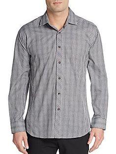 Jared Lang Regular-Fit Glen Plaid Cotton Sportshirt - Dark Grey - Size