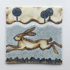 Running Hare by Lesley Nason Hare Illustration, Paper Mache Crafts, Clay Crafts, Rabbit Art, Jack Rabbit, Mandala Doodle, Vintage Tile, Ceramic Animals, Clay Design