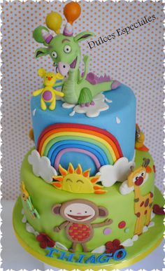 Tarta Draco y amigos . Cake Draco and friends from Baby TV. #babycake #babytv #draco