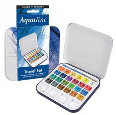 Daler Rowney travel set of 24 Half Pans Aquafine Watercolour paints tin box in Crafts, Art Supplies, Painting Supplies, Paint, Watercolor Paint | eBay