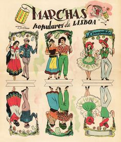 marchas populares ilustrações - Pesquisa Google Nostalgic Pictures, Portuguese Culture, Alphonse Mucha, Portugal Travel, Patron Saints, Vintage Postcards, The Past, Photos, Comics