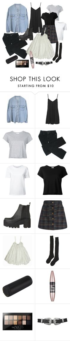 """""""Wishlist. My clothes will be always less colorful"""" by kamication ❤ liked on Polyvore featuring Boohoo, RE/DONE, Marc by Marc Jacobs, Lemaire, Samantha Holmes, Maybelline and Topshop"""