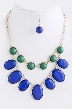 Dome Bead Jewel Necklace - Blue
