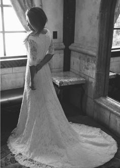 Claire Calvi - fit and flare lace wedding gown with 3/4 sleeves - vintage wedding gown - retro wedding dress