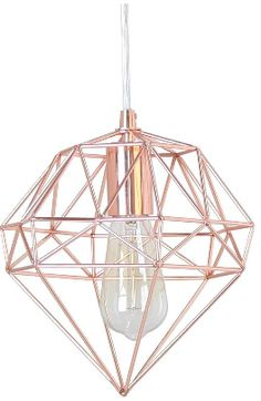 rose gold hanging light in the shape of a gem