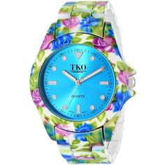 TKO ORLOGI Floral Analog Display Quartz Multi-Color Watch (555 ARS) ❤ liked on Polyvore featuring jewelry, watches, tri color jewelry, colorful watches, multicolor jewelry, multi colored jewelry and floral jewelry