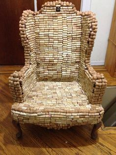I wonder how much wine was consumed to make this chair? Wine corks..