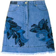 House Of Holland Denim Skirt With Lace Overlay (€62) ❤ liked on Polyvore featuring skirts, bottoms, embroidered skirt, a line skirt, high waisted denim skirt, high waisted a line skirt and floral a line skirt