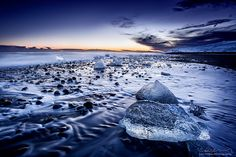 Jökulsarlön beach at Scafftafel National Park, Iceland.  Check out more stunning pics of Iceland @ http://lucthibau.com