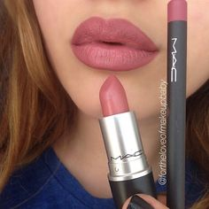 "#MAC ""Soar"" lip liner & ""Brave"" lipstick"