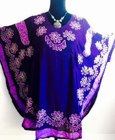 Women Purple Floral Embroidered Rayon Tunic Dress Top Free Size | eBay