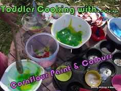 Mummy Musings and Mayhem: Let the kids explore some colour mixing fun with homemade cornflour paint and kitchen favourites!