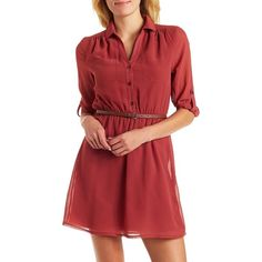 Charlotte Russe Belted Shirt Dress ($29) ❤ liked on Polyvore featuring dresses, red, elastic waist dress, shirt-dress, red shirt dress, charlotte russe dresses and belted shirt dress