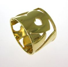 JENNIFER ZEUNER JEWELRY Yellow Gold Heart Cut Out Wide Band Ring Size 6.5 at www.ShopLindasStuff.com