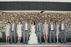 #Nude bridesmaid dresses and grey suits for #groomsmen ... #Wedding Guide ... The how, when, where  why of wedding planning for brides, grooms, parents  planners ... https://itunes.apple.com/us/app/the-gold-wedding-planner/id498112599?ls=1=8 … plus lots of budget wedding ideas ♥ The Gold Wedding Planner iPhone App ♥ http://pinterest.com/groomsandbrides/boards/