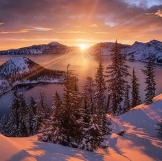 For More Visit Our Website: winter sunrise at crater lake national park Sunrise Photography, Scenery Photography, Landscape Photography Tips, Landscape Photos, Digital Photography, Winter Photography, Fantasy Pictures, Nature Pictures, Yoonmin