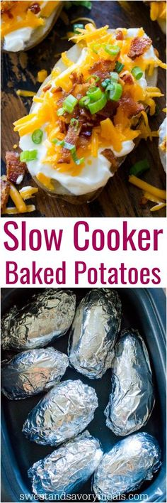 Slow Cooker Baked Potatoes are the perfect side dish that you can make in your slow cooker year around. Seriously, its the easiest recipe ever! #slowcooker #easy #dinnertime