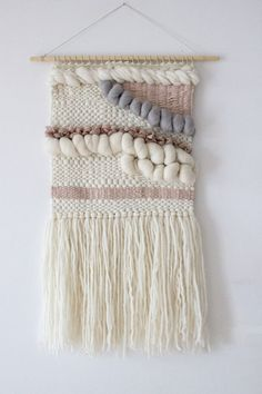 Pale pink, grey, white woven wall hanging | Woven wall art | Wall weaving…