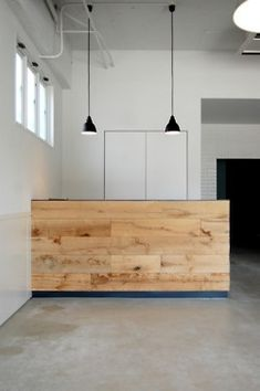 Simple wood facade for reception desk
