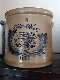 RARE Antique Stoneware: 4 Gallon Crock w/ Cobalt Blue Fish Swimming 1800's