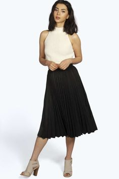 c6b251dd0 Marley Tie Waist Box Pleat Midi Skirt alternative image. See More. from  boohoo · Fiona Jupe Midi Plissée Effet Daim