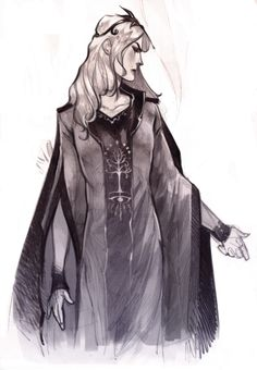 """numenor sauron sketch need to make a """"post-tree"""" version of this dress (melkorwashere.tumblr.com)"""