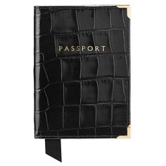 Plain Passport Cover in Black Croc & Red Suede from Aspinal of London