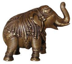 Großer Elefant aus Messing mit Gravur - 19 cm A Darker Shade Of Magic, Dark Shades, Messing, Lion Sculpture, Art, Products, Statues, Elephants, Figurines