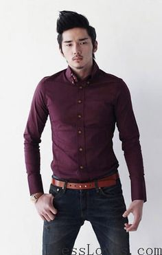 Cotton Men Long Sleeve Wine Red Dress Shirt M/L/XL/XXL@1120-F01wr