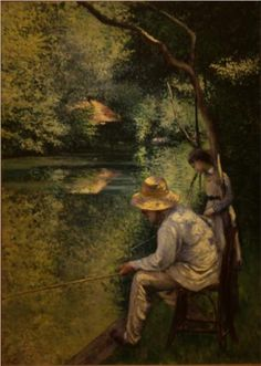 green - painting - Angling - Caillebotte Gustave - pesca à linha Mary Cassatt, Pierre Auguste Renoir, Claude Monet, Vides, Post Impressionism, Impressionist Paintings, Art Database, Art Tutorials, Great Artists