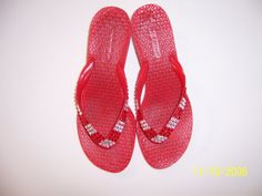 Red Victorias Secret Heeled Thong Shoes Decorated by ShadesOfBling