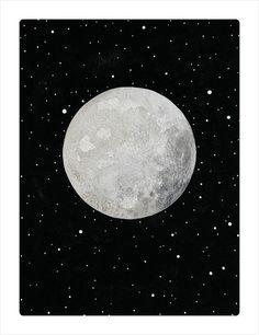 Luna 1 Original Contemporary Watercolor Moon by MinimalNature, £55.00 // www.etsy.com/shop/minimalnature