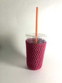 New to SalemStyle on Etsy: medium iced coffee cozy. Crochet coffee cozy. Red cup cozy. Cotton cup sleeve. Eco friendly cup jacket. Summer drink cozy. Raspberry cozy (10.00 USD)