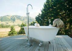 Outdoor bath overlooking the hills