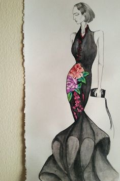 Black qi pao dress ♥