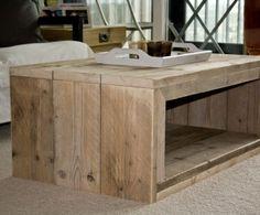 Modern coffee-table made of reused wood. Pallet Wood Coffee Table, Furniture, Wood Furniture, Furniture Layout, Home Furniture, Home Decor, Coffee Table, Custom Furniture, Home Deco