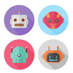 Create a set of scalable flat robot icons in Adobe Illustrator