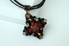 Black Red Beadwork Square Pendant  Beaded by craftybeadcollection