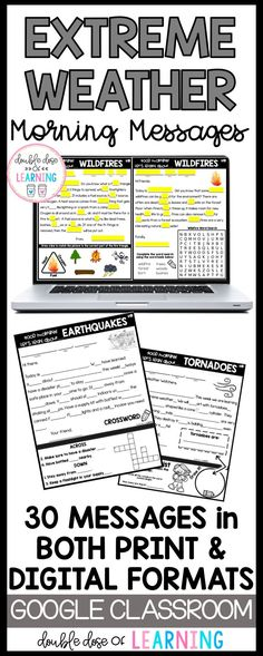 Start each morning off with a content related morning message to supplement your science unit on extreme weather and natural disasters! Students strengthen their reading skills while learning interesting facts about tornadoes, hurricanes, wildfires, blizzards, tsunamis and earthquakes. There are 30 messages included with 2 options for each - printable versions or digital for Google Drive or SeeSaw. Elementary Science, Science Classroom, Teaching Science, Classroom Resources, Science Resources, Science Lessons, 2nd Grade Math, Fourth Grade, Second Grade