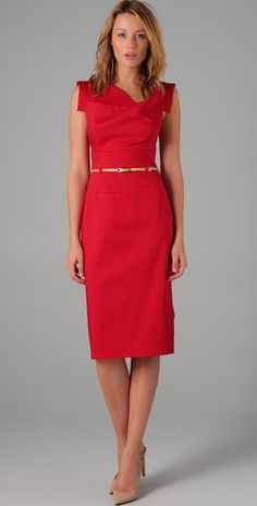i love a red dress but for some reason get shy about actually trying to wear one.  love the color and lines on this one though!